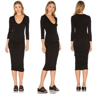 James Perse Black Long Sleeve V Neck Dress